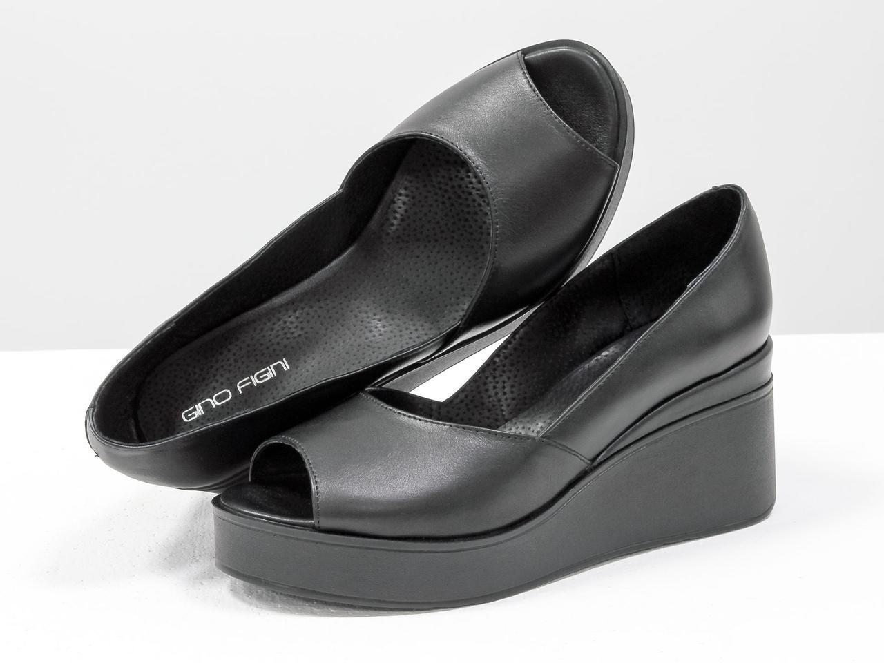 Туфлі чорні жіночі на танкетці з відкритим носиком, натуральна шкіра. З 36 по 41 р.