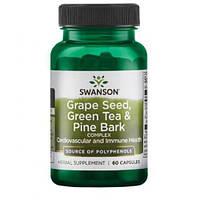 Виноградные семена, зеленый чай и сосновая кора Swanson Grape Seed green tea pine bark - 60caps