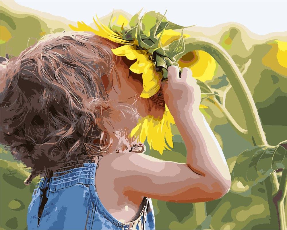 Картина за номерами BRUSHME Дитина у соняшника