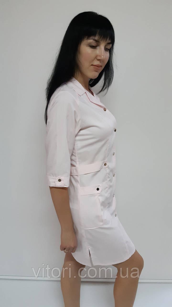 Жіночий медичний халат Хлястик три чверті рукав бавовна