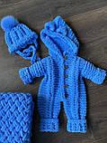 Детский вязаный мягкий плюшевый комбинезон из гипоаллергенной пряжи для мальчика ручной работы., фото 8