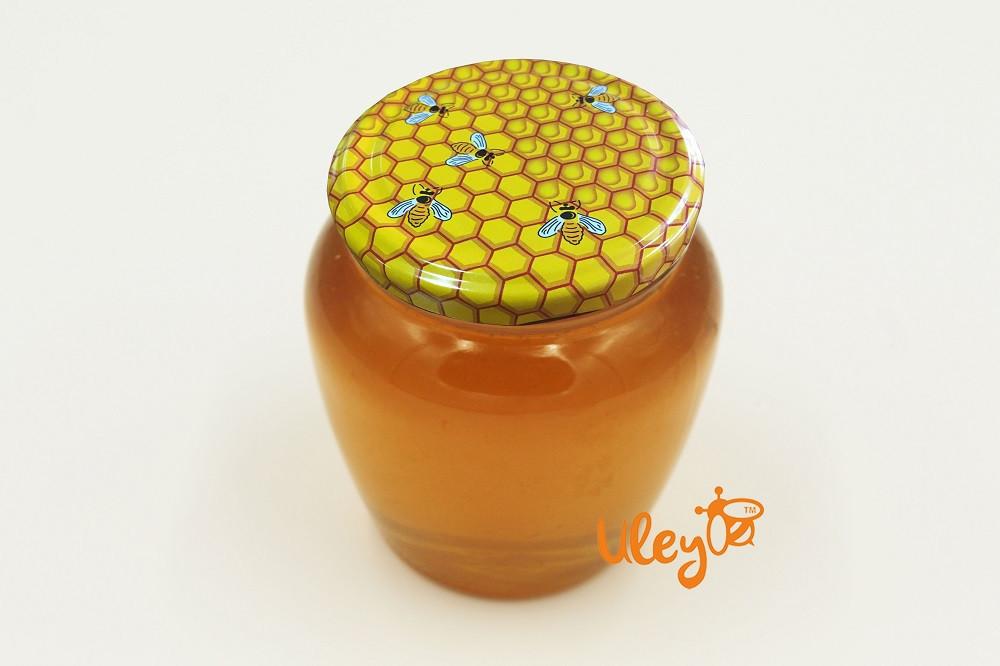 """Кришка для меду на скляну банку """"Бджілки на стільниках"""". Твіст-офф 82 мм"""