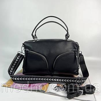 Женская кожаная сумка бочонок на и через плечо с двумя ремешками Polina & Eiterou
