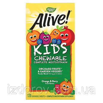 Nature's Way, Alive! Дитячий жувальний мультивітамін, смак апельсина і ягід, 120 жувальних таблеток