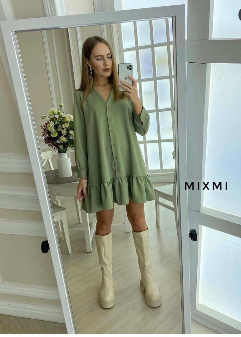 Жіноче плаття, костюмка люкс, р-р універсальний 42-46 (оливка)