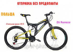 ✅ Гірський Двопідвісний Велосипед Azimut Power 26 D Рама 19,5 Чорно-Жовтий