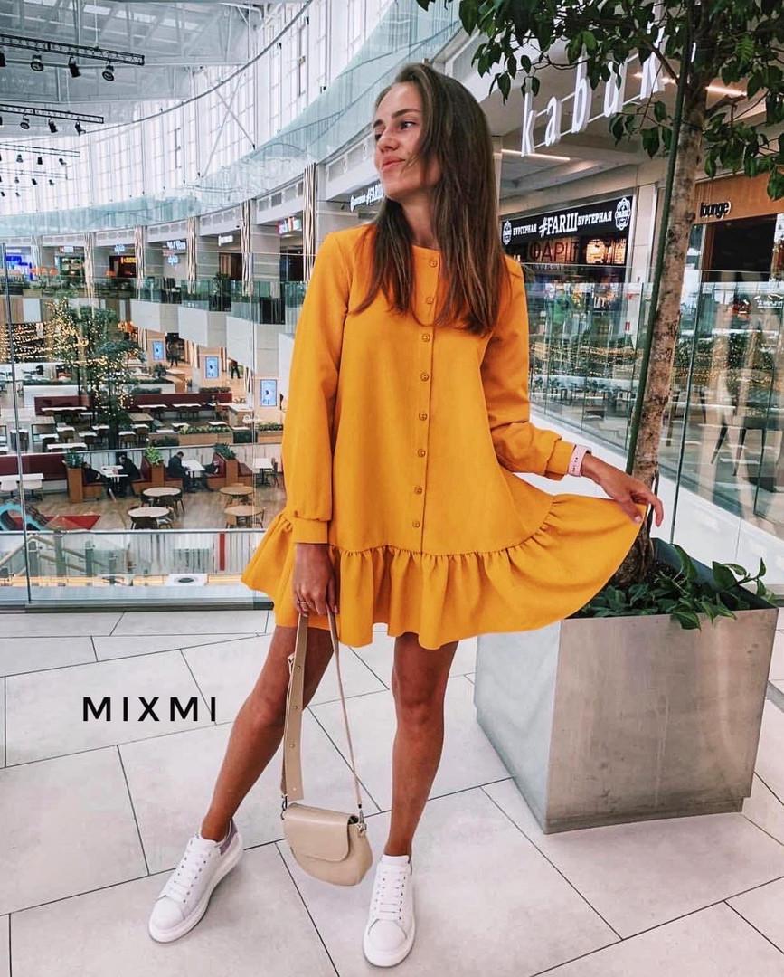 Женское платье, костюмка люкс, р-р универсальный 42-46 (горчица)