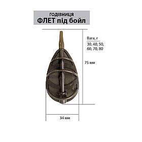 Кормушка LeRoy Метод - Флэт под бойл, 30 грамм