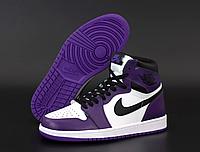 Женские кроссовки Nike Air Jordan Retro фиолетовые, Найк Джордан Ретро, натуральная кожа. код KD-12443
