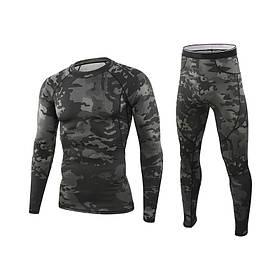 Термобілизна чоловіча Lesko A152 3XL Camouflage Black КОД: 3566-19532