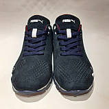 Мужские кроссовки из перфорированной кожи в стиле Puma, темно-синий, фото 4
