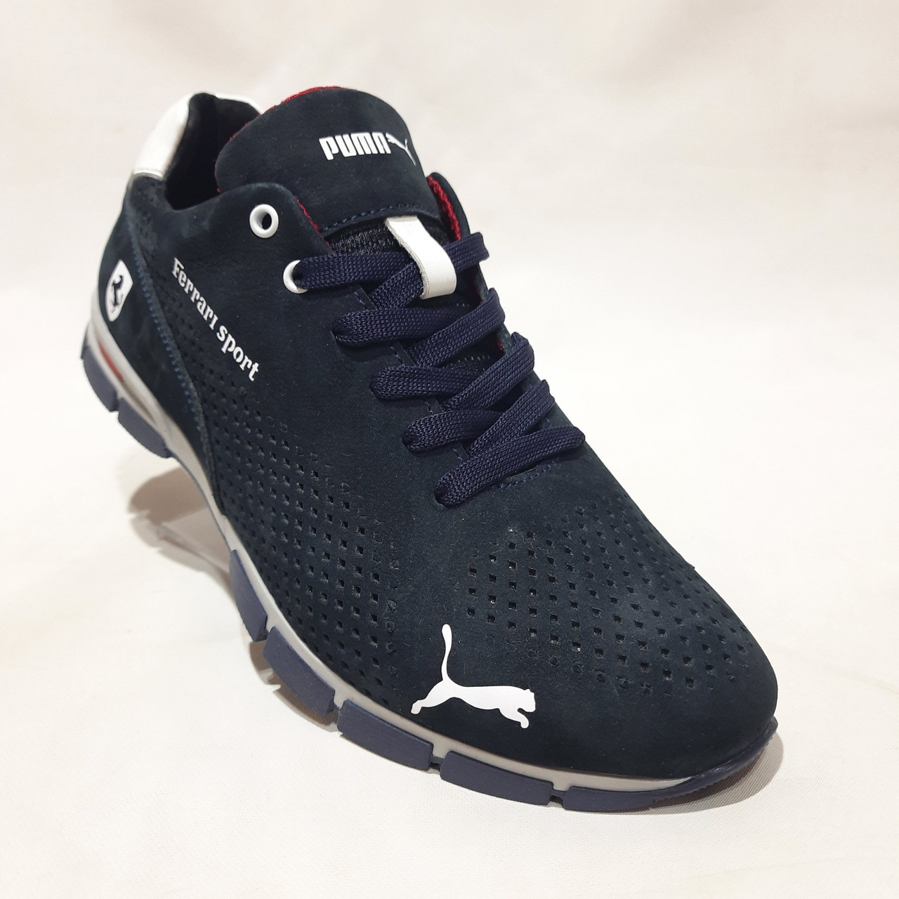 Мужские кроссовки из перфорированной кожи в стиле Puma, темно-синий