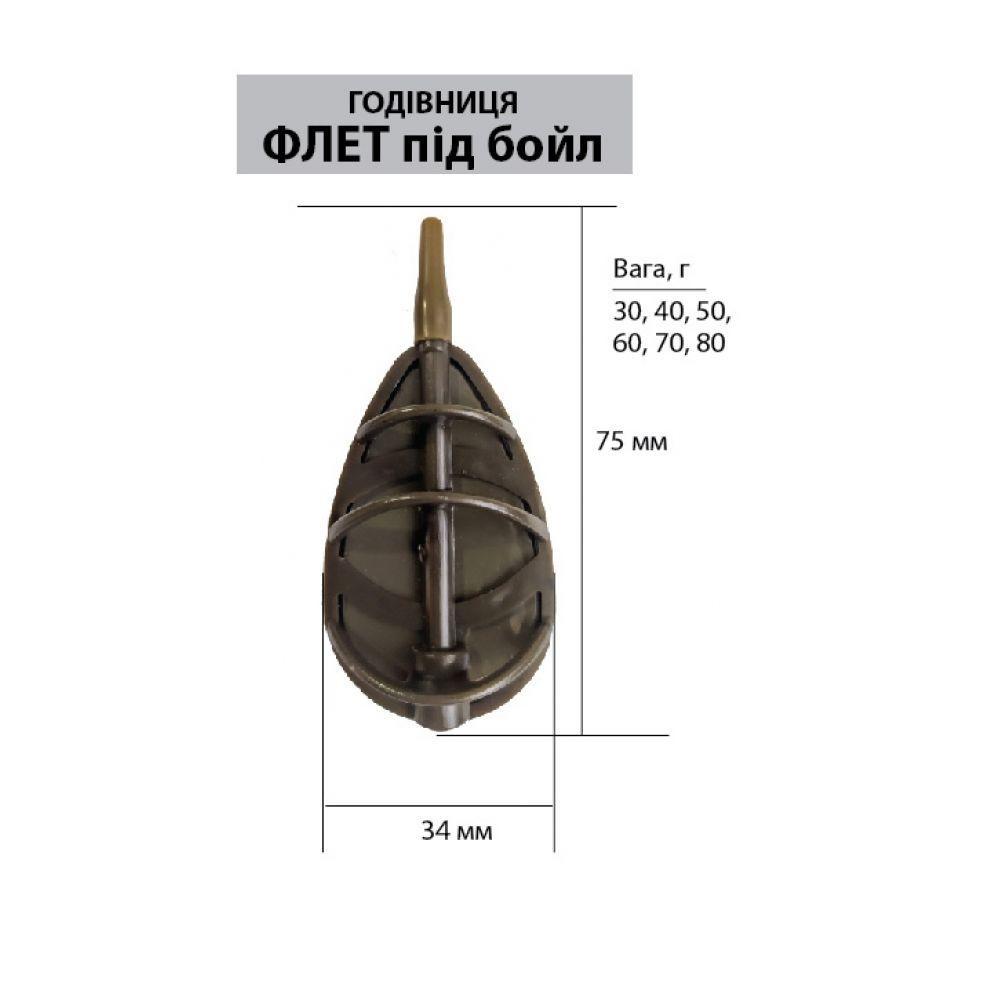 Кормушка LeRoy Метод - Флэт под бойл, 70 грамм