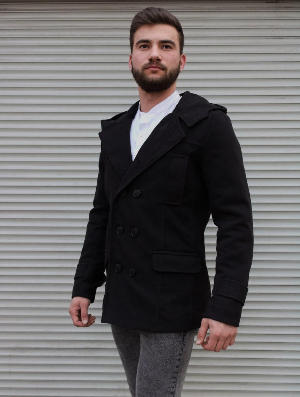 Чоловіче двобортне пальто з капюшоном сіре з кашеміру