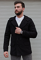Чоловіче двобортне пальто з капюшоном сіре з кашеміру, фото 2