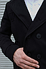 Чоловіче двобортне пальто з капюшоном сіре з кашеміру, фото 3
