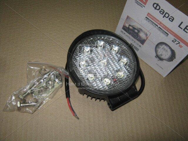 Фара LED круглая 27W, 9 ламп, 110*128мм, широкий луч | Дорожная карта