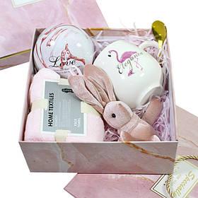 Сувенірний подарунковий набір Lesko C11 чашка + рушник + ложка + іграшка + металева коробочка КОД: