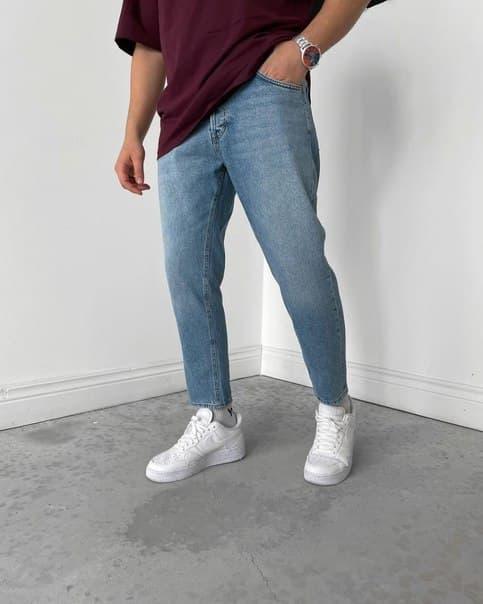 Блакитні щільні чоловічі джинси МОМ Туреччина Широкі джинси чоловічі