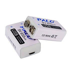 Акумуляторна батарея 9 вольт типу Крона li-ion 650 маг з USB портом для заряджання PALO-650 КОД: 01436