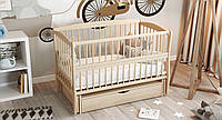 Кровать детская Дубик-М Элит2 на шарнирах с подшипником + ящик + откидная боковина натуральный КОД: 8106937