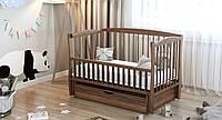 Кровать детская Дубик-М Элит 2 на шарнирах с подшипником + ящик + откидная боковина орех КОД: 8106938