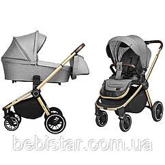 Детская коляска серая Carrello Epica 2в1 золотая рама люлька прогулочный блок сумка дождевик москитная сетка