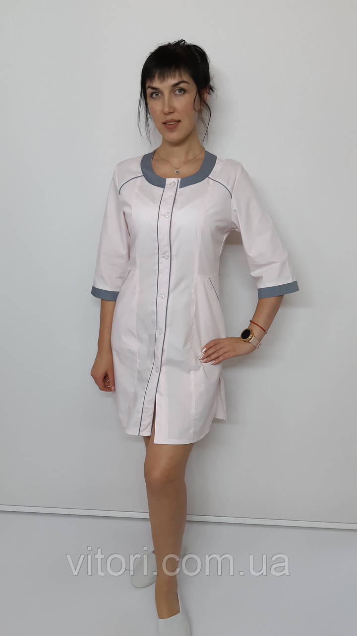 Медицинский женский халат Лиза хлопок три четверти рукав