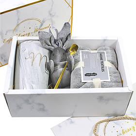 Сувенірний подарунковий набір Lesko А1 чашка + рушник + ложка + іграшка КОД: 6638-22524