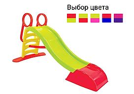 Дитяча ігрова гірка пластикова Mochtoys 180 см зі сходами і підключенням води (гірка спуск) Зелений