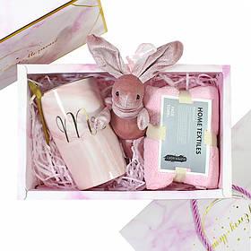 Сувенірний подарунковий набір Lesko A5 чашка + рушник + ложка + іграшка КОД: 6643-22527