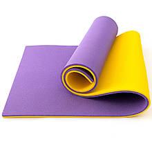 Килимок (каремат) для йоги, фітнесу та спорту OSPORT Спорт 16мм (FI-0038-1) Жовто-фіолетовий