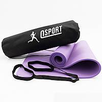 Коврик для йоги и фитнеса NBR + чехол (йога мат, каремат спортивный) OSPORT Mat Pro 1см (n-0011) Фиолетовый