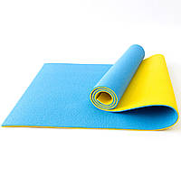Коврик для йоги, фитнеса и спорта (каремат спортивный) OSPORT Спорт 8мм (FI-0083) Сине-желтый