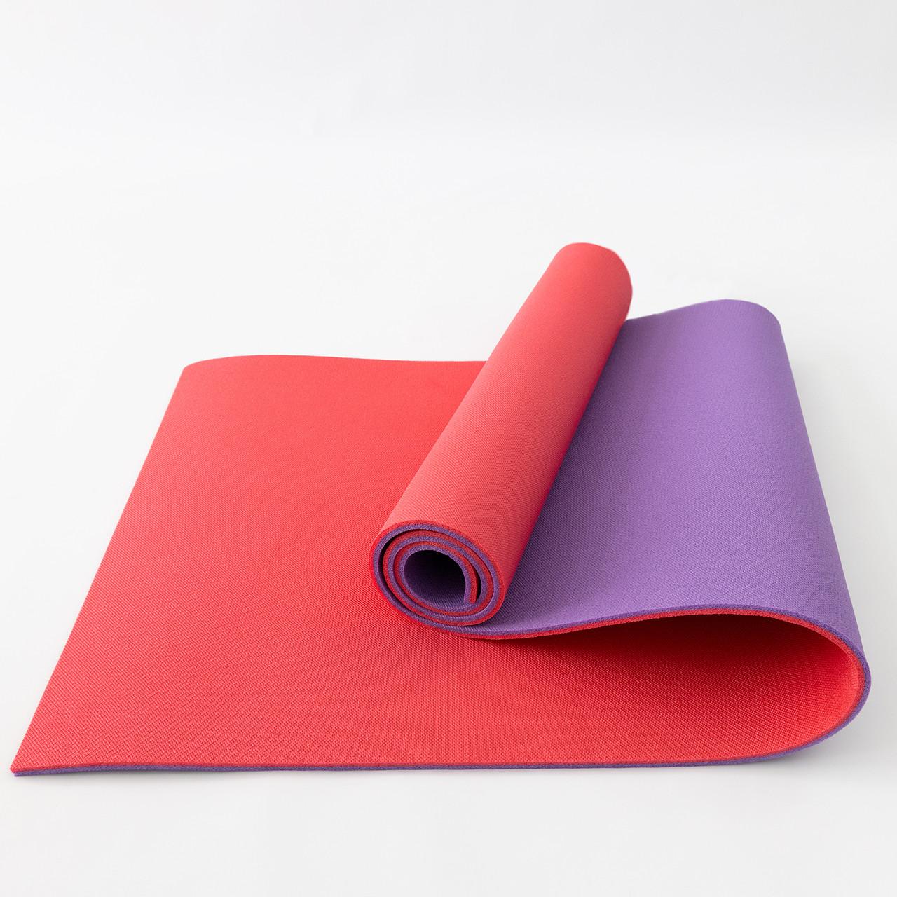 Килимок для йоги, фітнесу та спорту (каремат спортивний) OSPORT Спорт 8мм (FI-0083) Фіолетово-червоний
