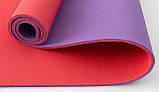 Килимок для йоги, фітнесу та спорту (каремат спортивний) OSPORT Спорт 8мм (FI-0083) Фіолетово-червоний, фото 2