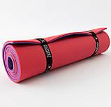 Килимок для йоги, фітнесу та спорту (каремат спортивний) OSPORT Спорт 8мм (FI-0083) Фіолетово-червоний, фото 3