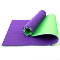 Коврик для йоги, фитнеса и спорта (каремат спортивный) OSPORT Спорт 10мм (FI-0083-1) Салатово-фиолетовый