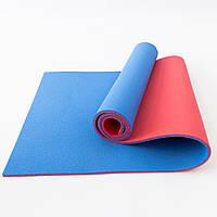 Коврик для йоги, фитнеса и спорта (каремат спортивный) OSPORT Спорт 10мм (FI-0083-1) Красно-синий