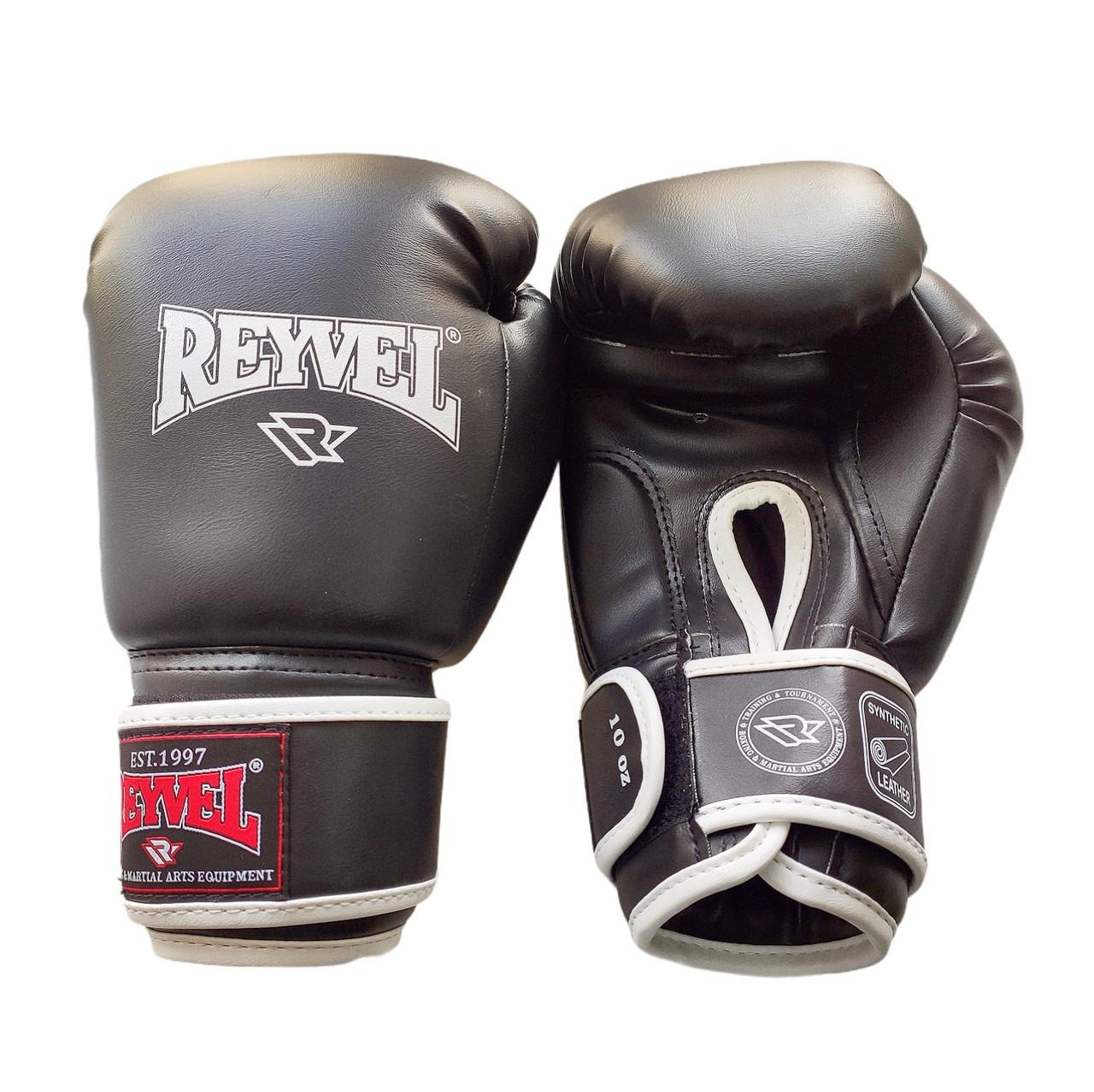 Рукавички для боксу Reyvel винив (штучна шкіра) 10 oz (унцій) чорний