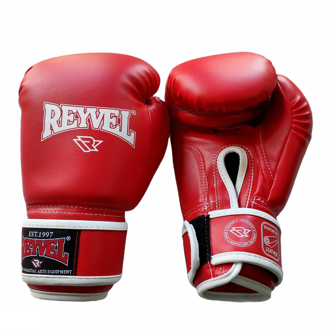 Рукавички для боксу Reyvel винив (штучна шкіра) 10 oz (унцій) червоний