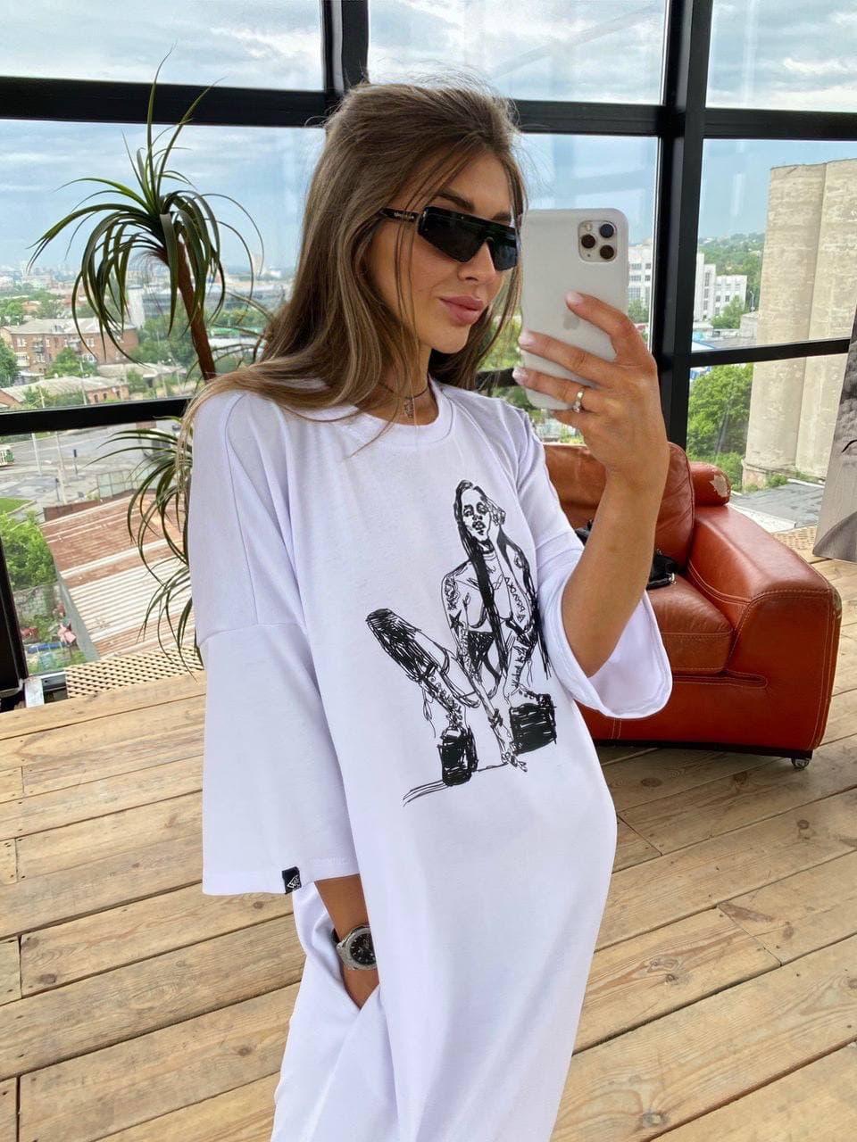 Жіноче плаття-футболка Alena white