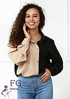 Двоколірна жіноча блузка на ґудзиках 020В / 010, фото 1