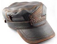 Модель №274 Кожаная байкерская кепка-немка Honda, фото 1