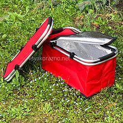 Термокорзина складная для пикника L 30л 27.5*24*48 см (красная)