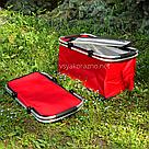 Термокорзина складная для пикника L 30л 27.5*24*48 см (красная), фото 5