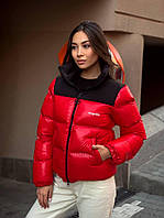 Куртка женская короткая красно-черная, демисезонная куртка спортивная