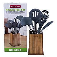 Набір кухонного приладдя з підставкою 7 предметів нейлонові з ручкою із бамбуку Kamille