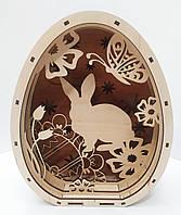 """Пасхальное украшение в форме яйца """"Пасхальный заяц"""" из фанеры"""