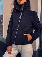 Короткая женская курточка черная без капюшона, стильный бомбер  премиум качества